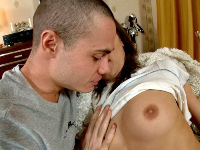 Interesting Black-haired Nubile Angel Fun Getting Super-hot Mounds Slurped By Means Of Her Bf