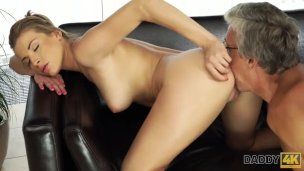Daddy4k. Senior Fellow And Stepsons Super-sexy Girlfriend Have Orgy In Adorable Poses