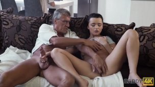 Daddy4k. Taboo Fuck-a-thon Of Elderly Man And Yummy Dark-haired Finishes With Jizz In Gullet