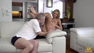 Old4k. Magnificent Xxx Act Through Teenage Blondie And Grey-headed Guy