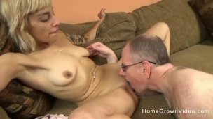 Youthful Platinum-blonde Mega-bitch With A Cock-squeezing Bod Smashes An Elderly Guy